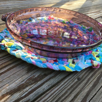 Oval Trivet, Large Trivet from Upcycled Tiedye Shirts, Tie Dye Home Decor, Hippie Home, Boho Home, Casserole Dish, Hot Pad Rag Rug Table Mat