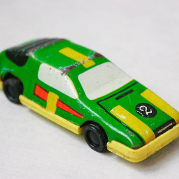 Soviet Tin Race Car / Collectible USSR Rustic Toy: Green & Yellow Metal Number 2 / 1970's Russian Vintage Toys