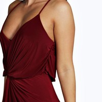 Hailey Slinky Knot Front Strappy Maxi Dress