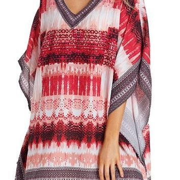 Black Red Tie Dye Print Oversized V Neck Poncho