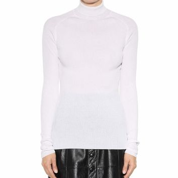 Silk and cotton turtleneck sweater