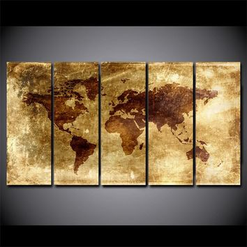 Vintage World Map Picture Poster /Print Home Decor Modular Wall Art