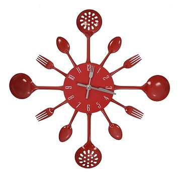 Cutlery Wall Clock  Red