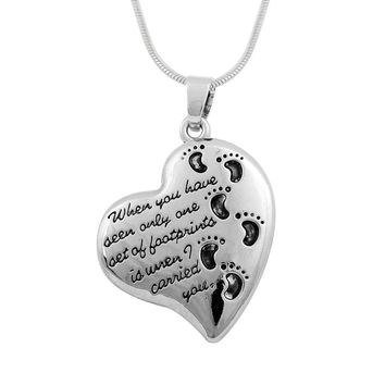 my shape Heart Shaped Footprints Pendant Prayer Cremation Memorial Urn Necklace  Baby Child Feet Family Jewelry