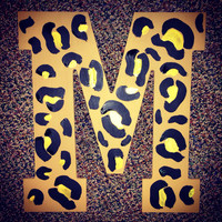 Cheetah Print Hand painted letter 13""