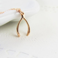 Rose Gold Wishbone Necklace, 14kt Rose Gold Filled Necklace Gift for Her
