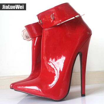 "jialuowei 2017 18cm/7""High Heel Shoes Woman Dance Party Shoes Lockable Ankle Strap Women Sexy Fetish Thin Heels Padlocks Pumps"