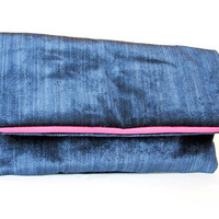 Foldover Clutch in Deep Blue Velvet Oversized clutches by Stoic