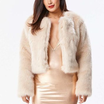 Faux Fur Coat Cream