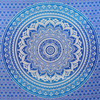 Blue Multi Indian Ombre Mandala Wall Tapestry, Hippie Bedding on RoyalFurnish.com