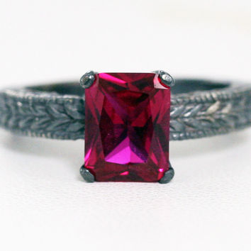 Oxidized Emerald Cut Ruby Engagement Ring, Oxidized 925 Sterling Silver, Emerald Cut Ruby Ring, Oxidized Engraved Sterling Silver Ring
