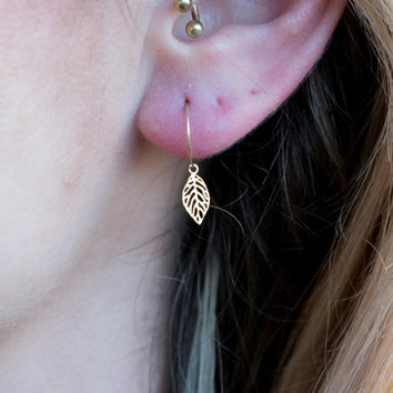 Tiny Gold Leaf Earrings Dainty Hoop Everyday Ea
