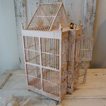 Distressed wedding birdcage shabby cottage chic vintage pink w/ white wooden bird cage summer events garden or home decor anita spero design
