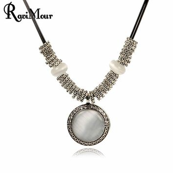 Ravimour Vintage Opal Stone Necklace
