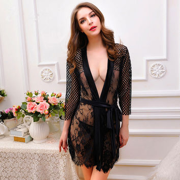 Sexy Lace Nightdress Summer Woman Nightgown Sleepwear Crochet Black Lace Lingerie Sexy Women Sleepwear Nightwear Sleep Dress