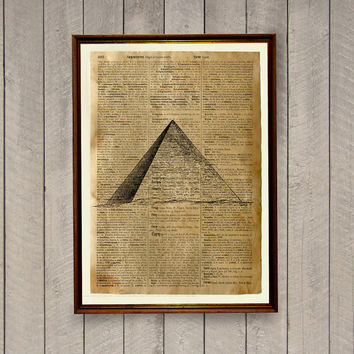 Magic illustration Occult poster Pyramid print  Dictionary page