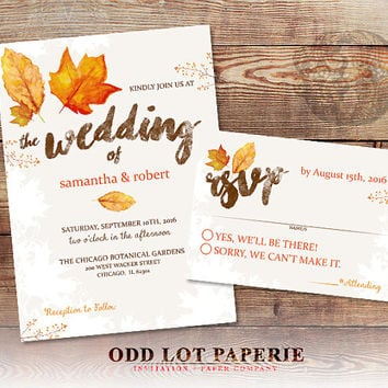 Fall Wedding Invitation Set Fall Leaves Wedding Invite and RSVP Country Wedding DIY Printable Fall Wedding Invitation Set Digital Printable