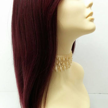 Long 21 inch Burgundy and Black Lace Front Wig with Bangs and Premium Heat Resistant Fiber. [37-203-Sonya-T1B/Bur]