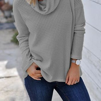 New Grey Patchwork High Neck Casual Knit T-Shirt