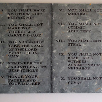 "Beautiful Ten Commandments on Stone Tablet Painting New King James Version 20""x16""x5/8"" Wall Art"