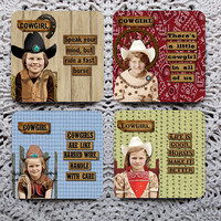 Saddle Up, Cowgirl -- Funny Retro Sassy Girls Mousepad Coaster Set