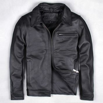 Free .EMS Brand clothing men cow leather Jackets,men's genuine Leather biker jacket.motorcycle homme Fitness skin plus