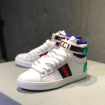 """Gucci"" Women Casual Personality Multicolor Letter Velcro Mid Plate Shoes Couple Fashion Sneakers"