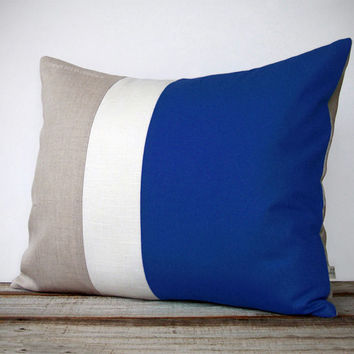 16x20 Color Block Pillow in Cobalt, Cream and Natural Linen by JillianReneDecor - Minimal Home Decor - Striped Trio - Dazzling Blue
