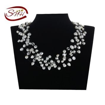 SNH 5-6mm baroque A grade white accessories necklace leather necklace baroque culture freshwater pearl