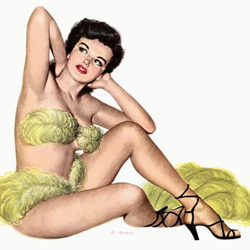 Pin Up Girl Brunette Wearing Yellow Fans Poster