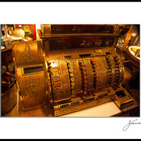 "Old Antique Cash Register, Fine Art Photogtaphy Print, Brass Color, 8""x12"" Matted to 12""X16"" Print"