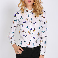 White Autumn Bird Print Long Sleeve Chiffon Blouse with Collar