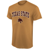 Texas State Bobcats Mid Size Arch Over Logo T-Shirt – Vegas Gold