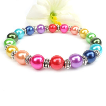 Rainbow Bracelet, Colorful Jewelry, Pearl Stretch Bracelet, LGBT Bracelet