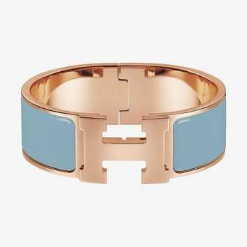 New Hermes Clic Clac H Bracelet Wide PM Bangle Blue CHARDON Rose Ghw 18yrs on e
