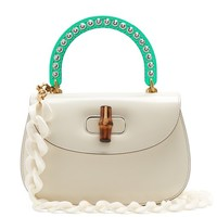 Crystal-embellished perspex-handle leather bag | Gucci | MATCHESFASHION.COM UK