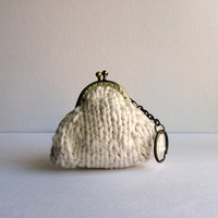 white coin purse with key chain  knitted in cotton yarn by branda