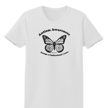 Autism Awareness - Puzzle Piece Butterfly 2 Womens T-Shirt