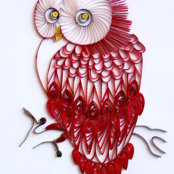 Red Velvet Owl - Unique Paper Quilled Wall Art for Home Decor (paper quilling handcrafted art piece made with love by artist in California)