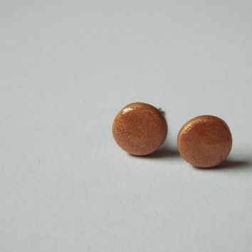 Tiny Round Golden Clay Stud Earring Small Ear Studs