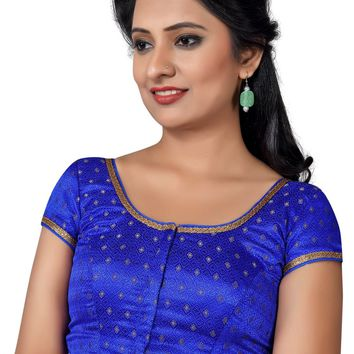 Royal Blue Brocade Designer Saree Blouse SNT-X-433-SL