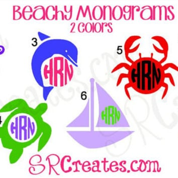 Beach Monogram Decall - Glitter Vinyl or Regular Vinyl, Many Sizes
