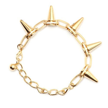Spike Studs Chain Bracelet BA15 Gold Tone Bullet Edgy Punk Charm Bangle Fashion Jewelry