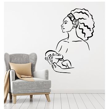 Vinyl Wall Decal African Native Woman Mother With Baby Child Stickers Mural (g907)