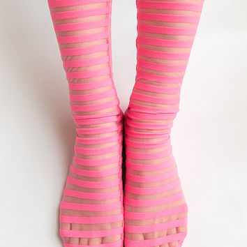 Women New Hezwagarcia See Through Mega Sheer Neon Pink Stripe Pattern Polyester Spandex Socks Hosiery