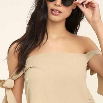 That's the Ticket Beige Off-the-Shoulder Crop Top