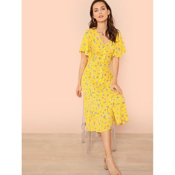Yellow Button Through Calico Dress
