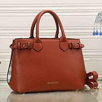 Burberry Women Fashion Leather Satchel Tote Shoulder Bag Handbag Crossbody