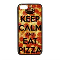 KEEP CALM AND EAT PIZZA Apple iphone 5 or 5s TPU (Laser Technology) Case Cover, Cell Phone Cover