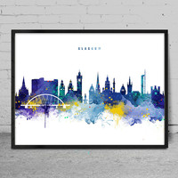 Glasgow Skyline, Glasgow Scotland Cityscape Art Print, Watercolor Painting, Wall Art Poster, Cityscape, City Wall art, Artwork, Poster -x140